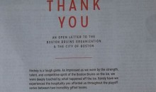 Blackhawks Take Out Full Page Ad in the Boston Globe To Thank the Bruins and Their Fans