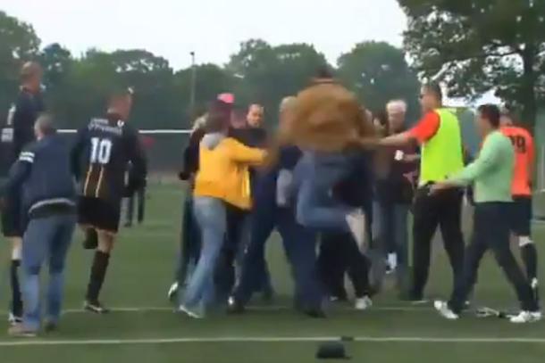brawl at one-legged soccer game