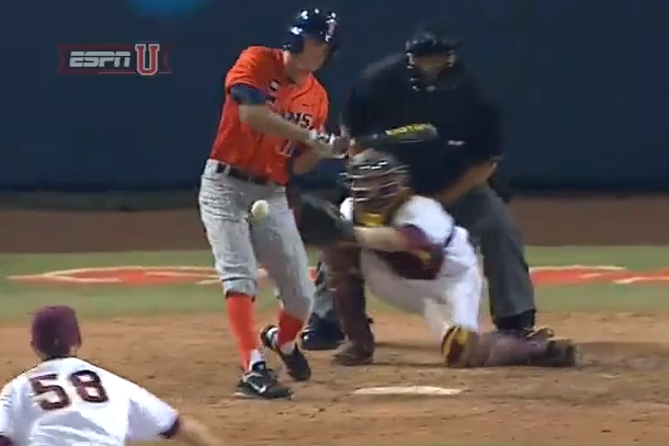 college baseball player hit in nuts by pitch