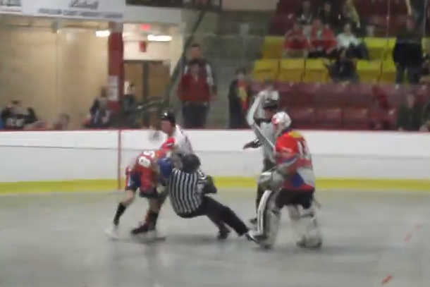 fight at ball hockey world championships