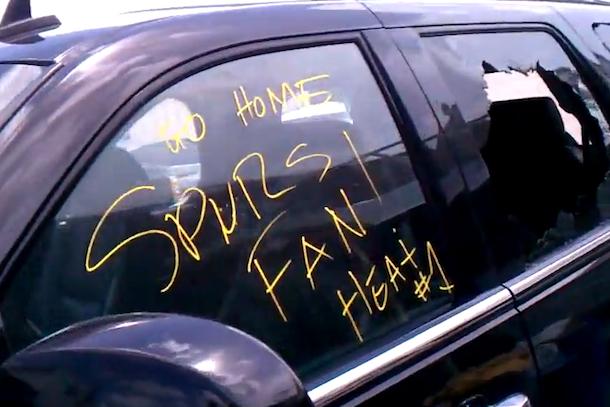 heat fans trash car of spurs fan