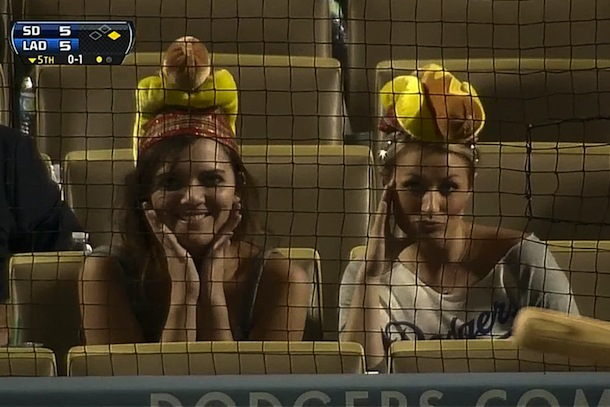 hotties wearing hot dog hats at dodgers game
