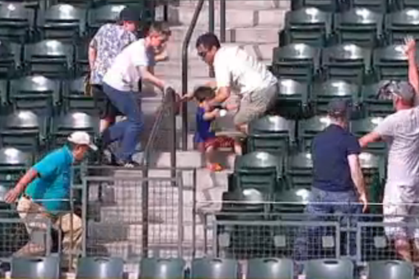 man runs over kid for home run ball