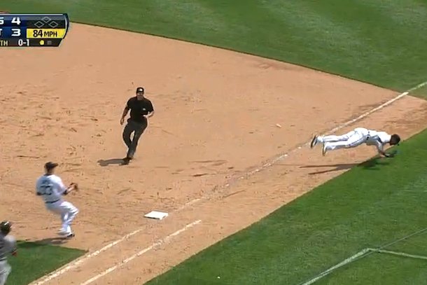 victor martinez great flip play