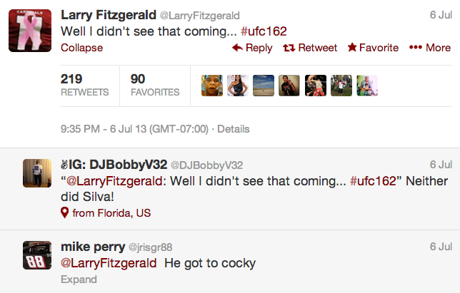 15 larry fitzgerald - athletes react on twitter to anderson silva knockout