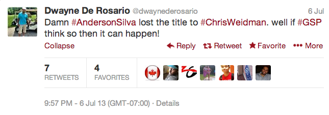 16 dwayne de rosario - athletes react on twitter to anderson silva knockout