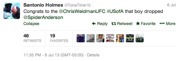 18 santonio holmes - best athlete twitter reactions to anderson silva knockout