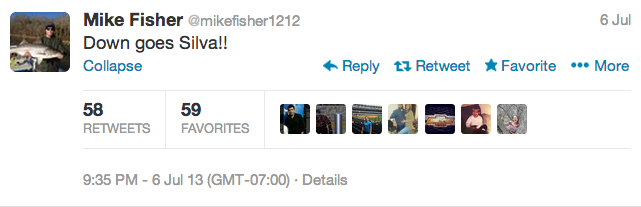 19 mike fisher - athletes react on twitter to anderson silva knockout