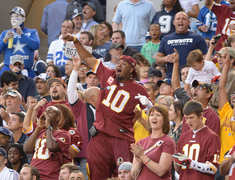 3 fans wearing robert griffin iii jerseys - top selling nfl jerseys