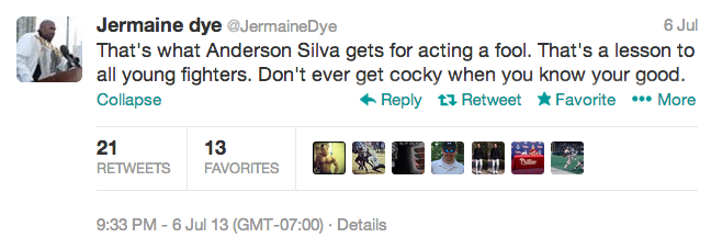 4 jermaine dye - athletes react on twitter to anderson silva knockout