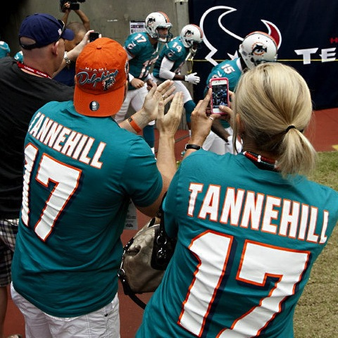 6 dolphins fans in tennehill jerseys - top selling nfl jerseys