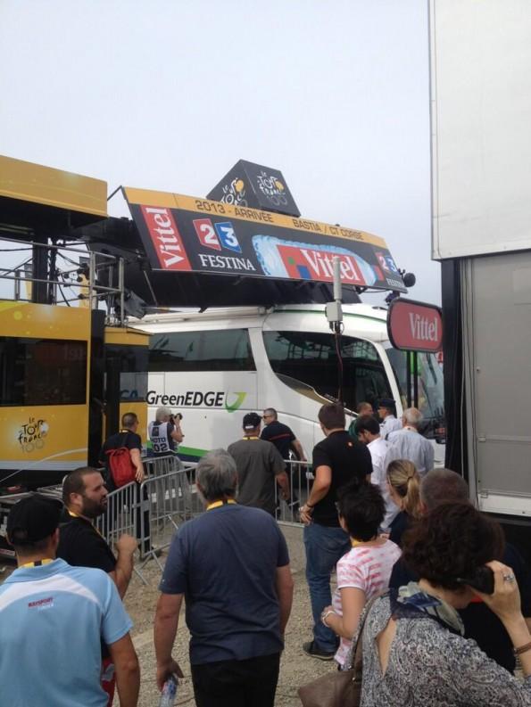 Tour de France team bus stuck