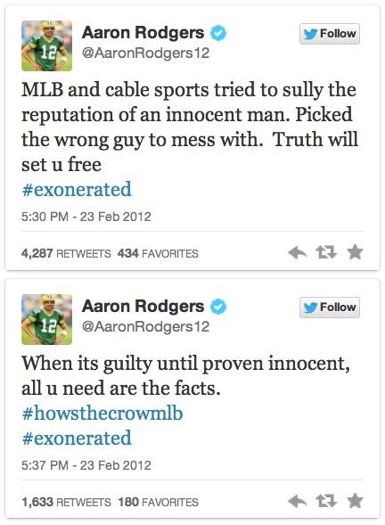 aaron rodgers defending ryan braun on twitter