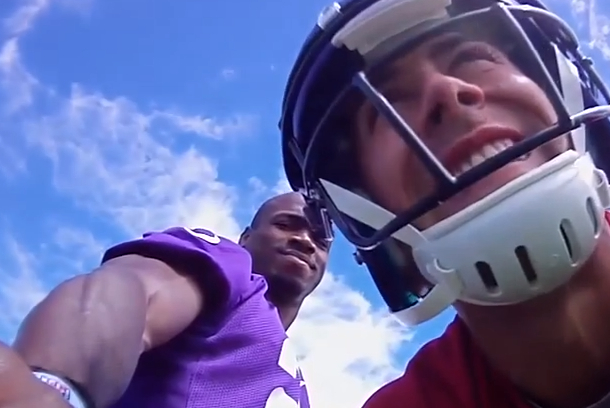 adrian peterson helmet cam vikings training camp