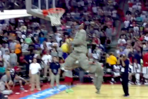 army guy dunks in uniform