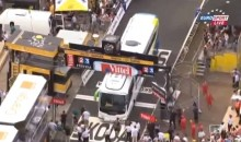 Bus Gets Stuck Under Finish Line At Tour De France (Video)