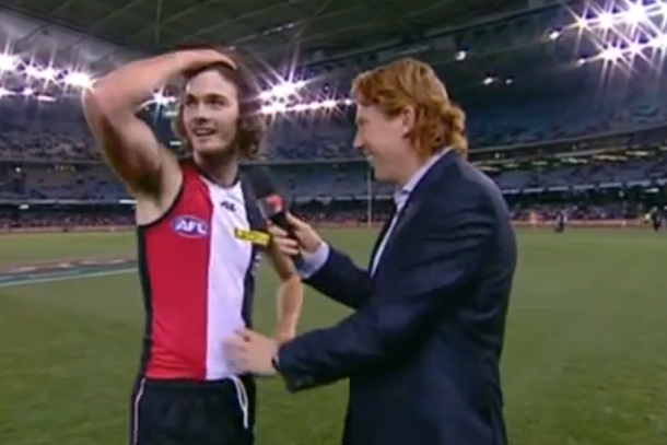 dylan robertson australian football sideline interview concussion