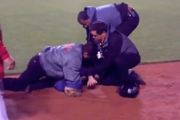 fan on field roughed up by security at at&t park