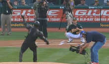 'Snake Eyes' from G.I. Joe Threw Out the First Pitch at the Oakland A's Game Yesterday (Video)