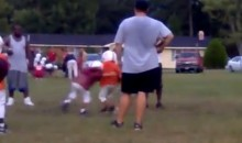 Watch this Pee Wee Football Player Deliver a Thunderous Hit at Practice (Video)