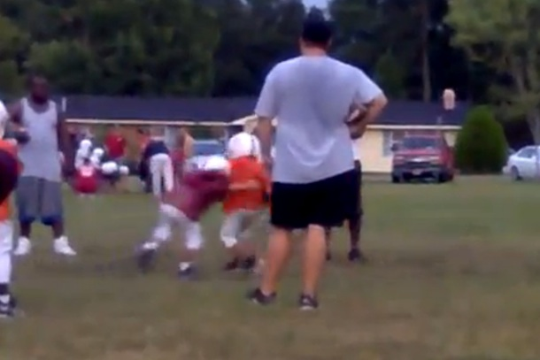 huge pee wee football tackle