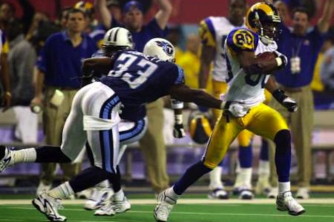 isaac bruce super bowl touchdown - nfl sign and retire