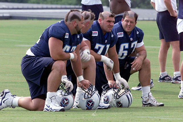 jason gamble, ben adams, zach piller, and ian rafferty (titans 1999) - nfl training camp hazing hairdos