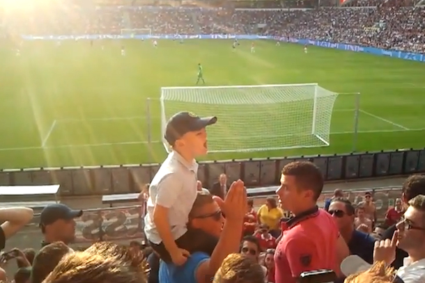 kid leads dutch soccer fans in chant