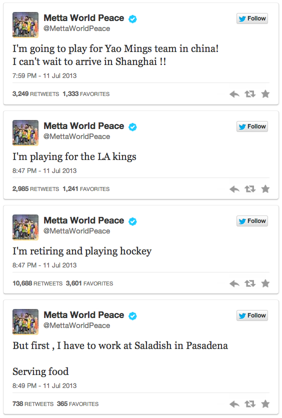 metta world peace tweets