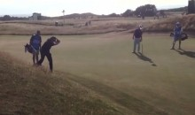 Phil Mickelson Shoots a Backward Chip Shot While Practicing for British Open (Video)