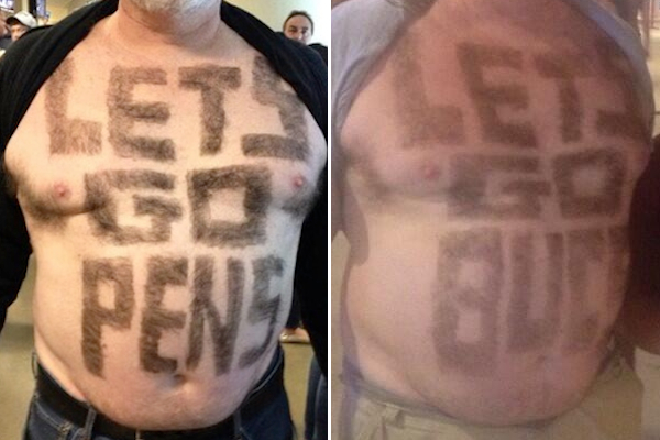 pittsburgh super fan shaves messages into chest hair