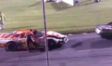 Angry Race Car Drivers Gets Dragged Around the Track By Another Driver's Car (Video)