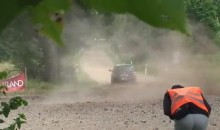 Rally Car Worker Gets Hit in the Groin With Debris (GIF)