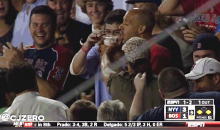 Red Sox Fan Catches Ball in Beer, Commits Grave Party Foul by Letting Dude Next to Her Chug It (GIF)