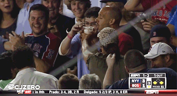 red sox fan catches ball in beer then chugs