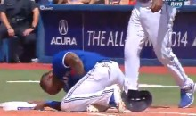 Jose Reyes Gets Hit in the Groin by Pickoff Attempt (Video)