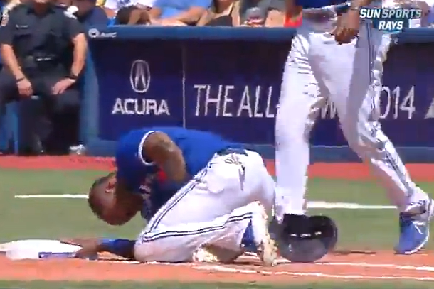 reyes hit in nuts by pickoff attempt