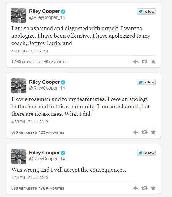riley cooper racist twitter apology