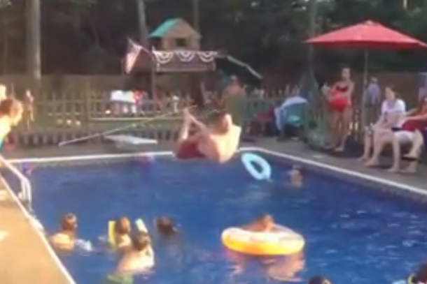 slow motion belly flop