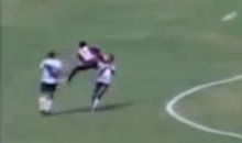 Sometimes Soccer Players Forget that Kung Fu Kicks Are Illegal in Their Sport (Video)