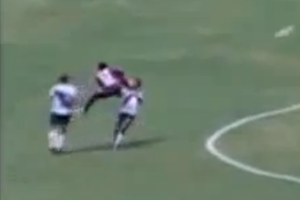 soccer player kung fu kick