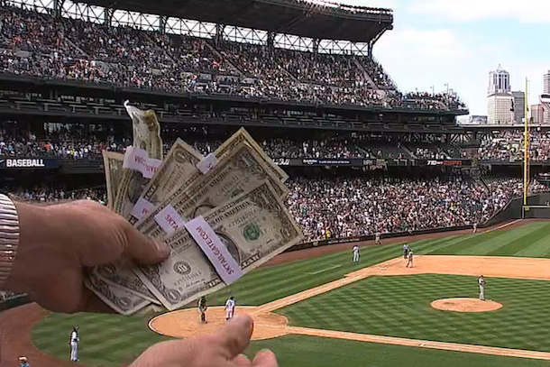 someone dropped stack of money at mariners game at safeco field