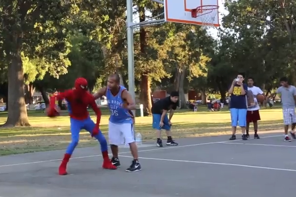 street baller the professor dressed as spiderman