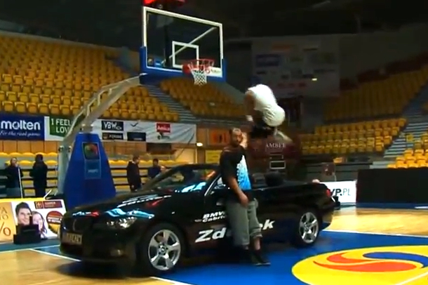team flight brothers dunk over bmw car