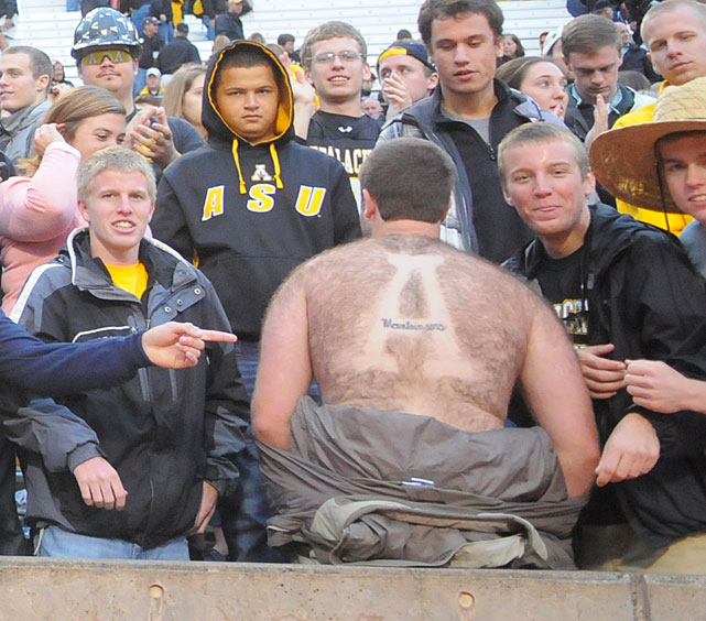 10 appalachain state fan - fans with signs shaved into their chest back hair