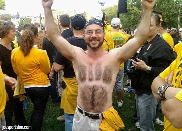 11 missouri tigers fan - fans with signs shaved into their chest back hair
