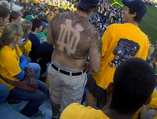 12 notre dame fan - fans with signs shaved into their chest back hair