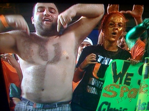 14 miami hurricanes fan - fans with signs shaved into their chest back hair