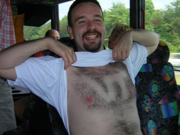 15 virginia tech fan - fans with signs shaved into their chest back hair