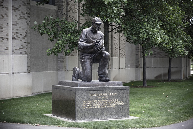 16 frank leahy statue - college football legends with their own statues
